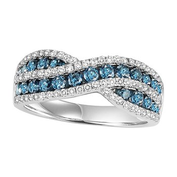14K Blue & White Diamond Band 1 1/4 ctw