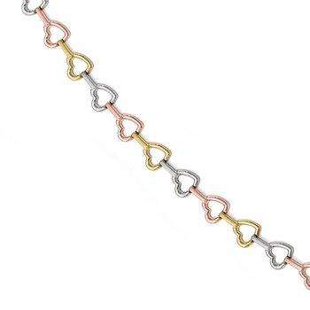 Leslie's 10k Tri-color Heart Bracelet