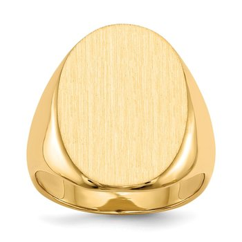 14k 22.0 x16.0mm Closed Back Men's Signet Ring
