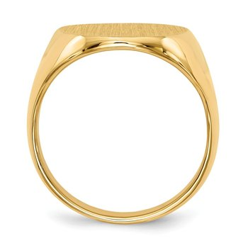 14k 21.5x16.0mm Closed Back Men's Signet Ring