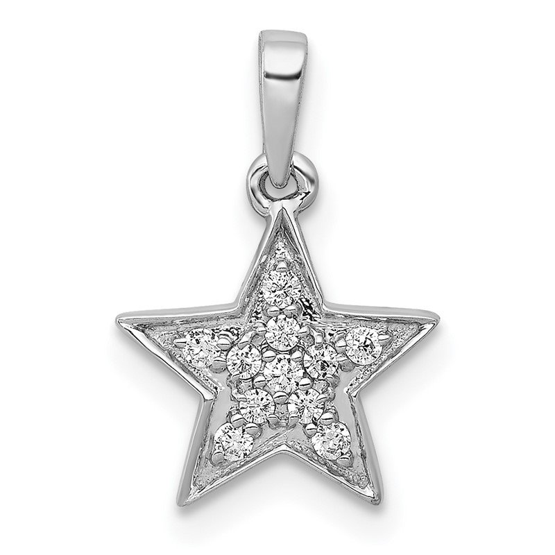 Quality Gold 14k White Gold 1/10ct. Diamond Star Pendant