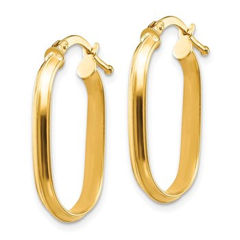 14K Small 3x2mm Knife Edge Oval Hoop Earrings