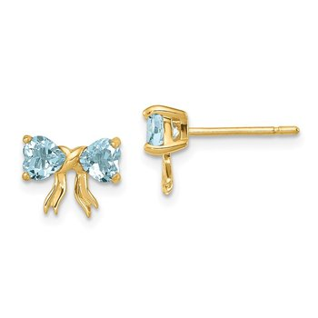 14k Gold Polished Aquamarine Bow Post Earrings