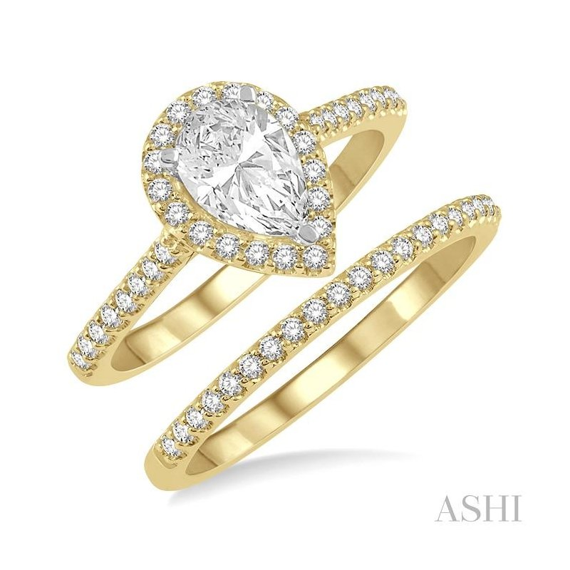 ASHI pear shape diamond wedding set