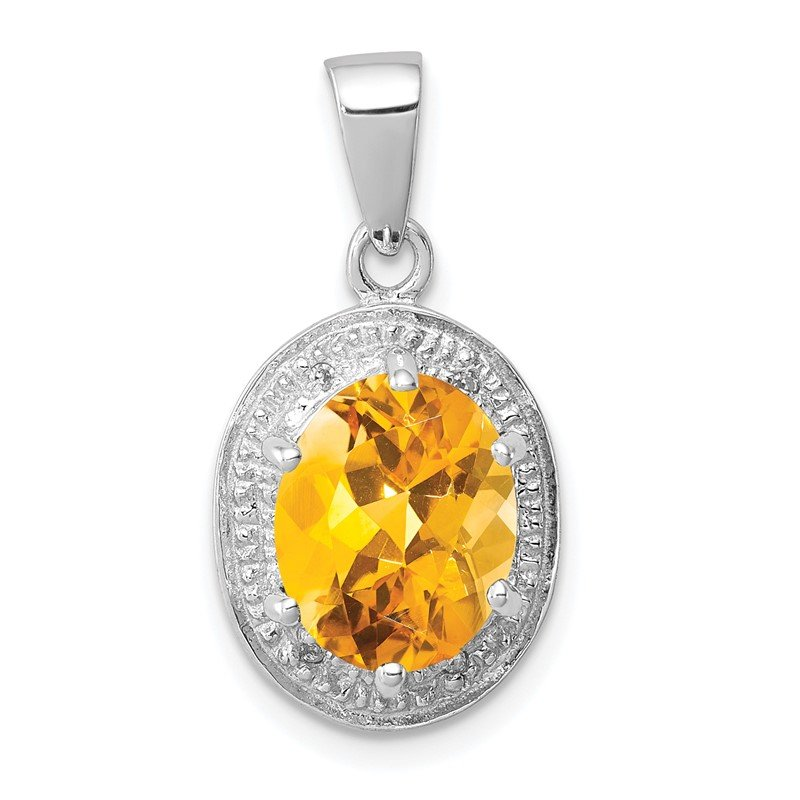 Lester Martin Online Collection Sterling Silver Rhodium-plated Citrine & Diamond Pendant