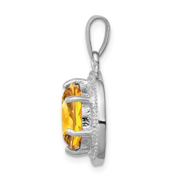 Sterling Silver Rhodium-plated Citrine & Diamond Pendant