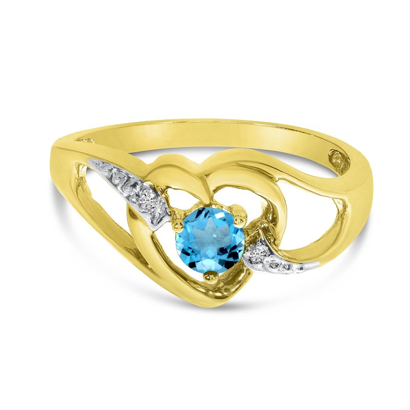 Color Merchants 14k Yellow Gold Round Blue Topaz And Diamond Heart Ring