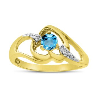 14k Yellow Gold Round Blue Topaz And Diamond Heart Ring