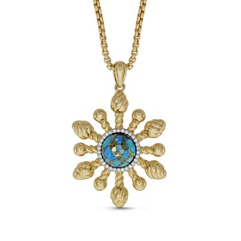 LuvMyJewelry Sunny Side Up Turquoise & Diamond Pendant in Sterling Silver & 14 KT Yellow Gold Plating