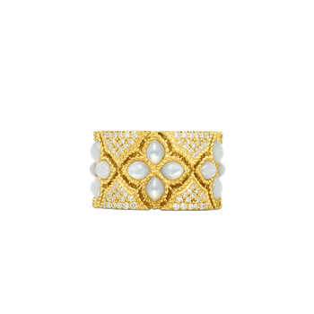 18Kt Gold Wide Diamond & Mother-Of-Pearl Ring