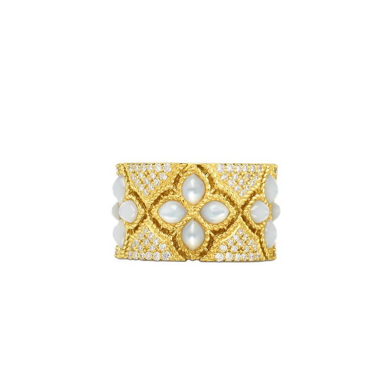 Roberto Coin 18KT GOLD WIDE DIAMOND & MOTHER-OF-PEARL RING