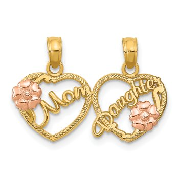 14k Two-tone MOM - DAUGHTER Break-apart Hearts Pendant