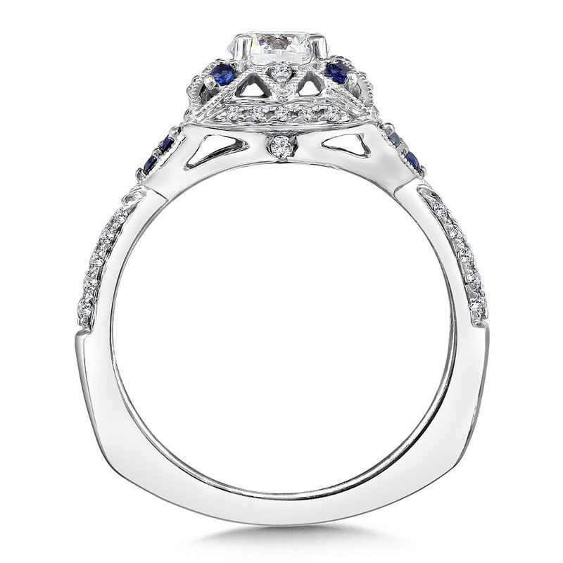 Valina Diamond and Blue Sapphire Engagement Ring Mounting in 14K White Gold (.20 ct. tw.)