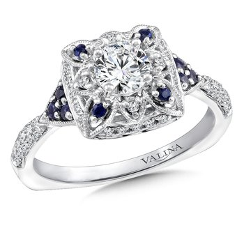 Diamond and Blue Sapphire Engagement Ring Mounting in 14K White Gold (.20 ct. tw.)