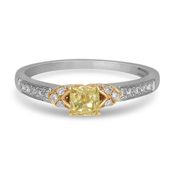 14K WY Diamond and Fancy Yellow Dia Center Enagagement Ring