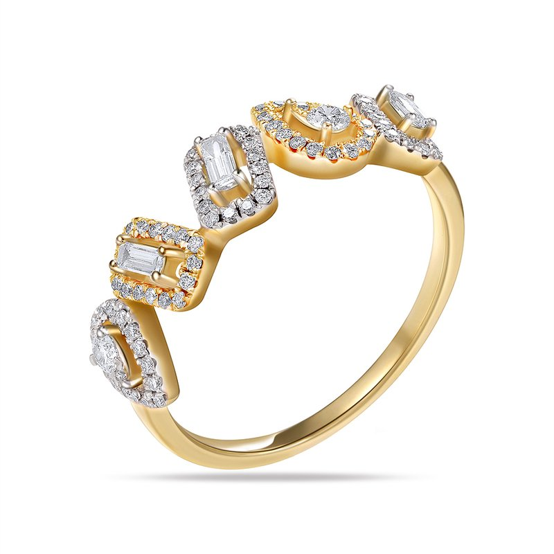 Shula NY Beautiful multi shape ring with 84 round Diamonds 0.33CT & 3 Bag 0.13CT