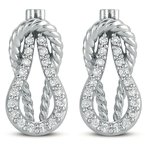S. Kashi  & Sons White Gold Love Knot Rope Earring