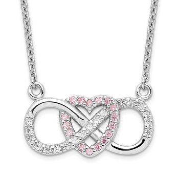 Sterling Silver Rhodium-plated w/CZ Heart w/Infinity Symbol Necklace