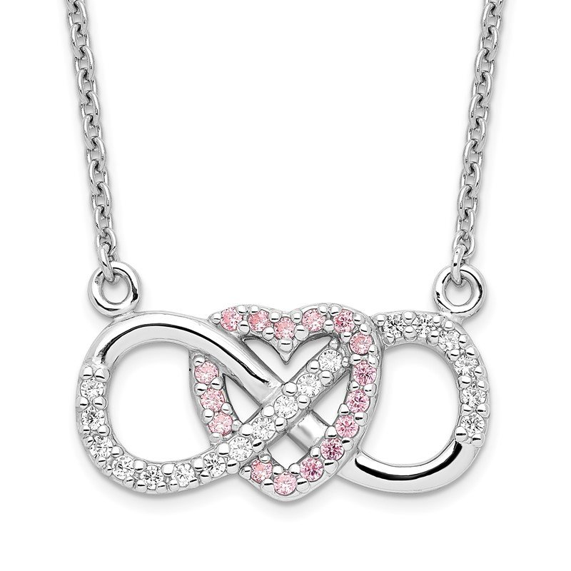 Quality Gold Sterling Silver Rhodium-plated w/CZ Heart w/Infinity Symbol Necklace