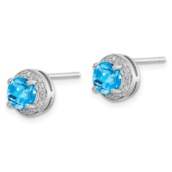 Sterling Silver Rhodium-plated Diamond & Blue Topaz Earring