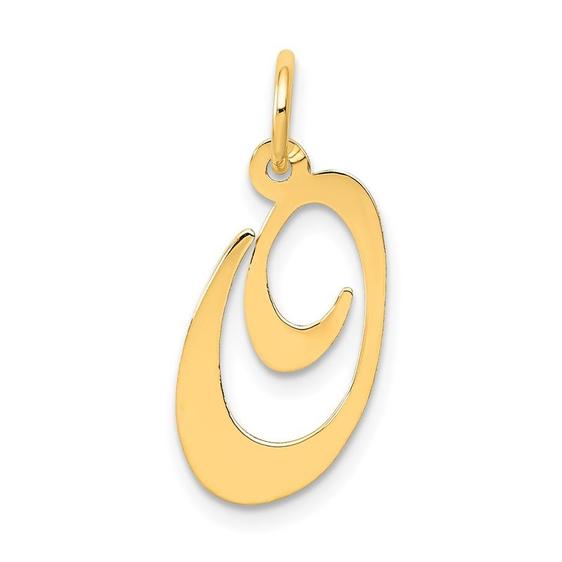 Quality Gold 14K Medium Fancy Script Letter O Initial Charm