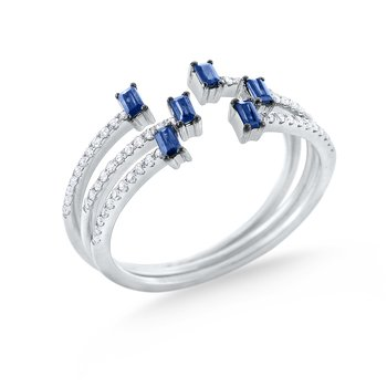 3 Sapphire & Diamond Mosaic Stack Rings Set in 14 Kt. Gold