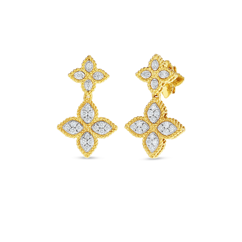 Roberto Coin  #27632 Of 18K Gold & Diamond Drop Earring