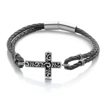 Stainless Steel Black Leather Bracelet with Designed Cross. 9""