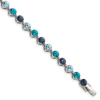 Sterling Silver Rhodium-plated Multi-shade Blue Crystal Bracelet
