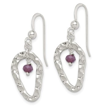 Sterling Silver Hammered Purple Glass Dangle Earrings