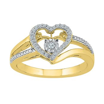 10kt Yellow Gold Womens Round Diamond Heart Moving Twinkle Ring 1/10 Cttw