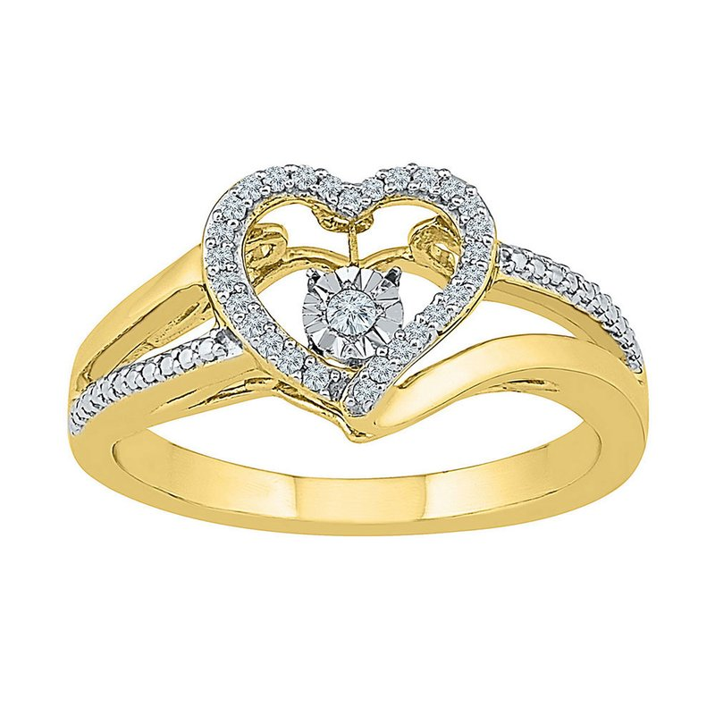 Kingdom Treasures 10kt Yellow Gold Womens Round Diamond Heart Moving Twinkle Ring 1/10 Cttw