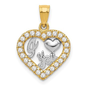 14k w/Rhodium CZ I HEART YOU Pendant