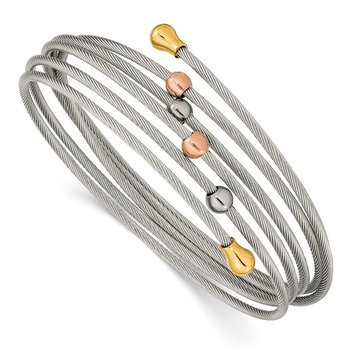 Stainless Steel Polished Rose and Yellow IP-plated Flexible Coil Bangle