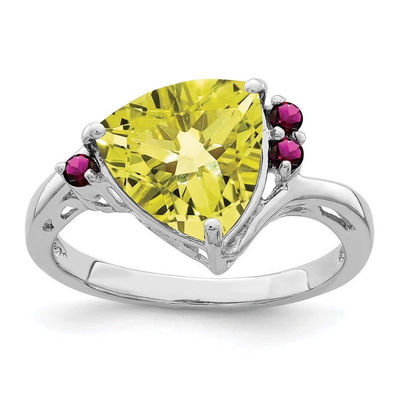 Quality Gold Sterling Silver Rhodium Lemon Quartz & Rhodolite Garnet Ring