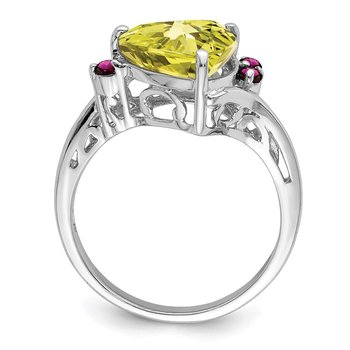 Sterling Silver Rhodium Lemon Quartz & Rhodolite Garnet Ring