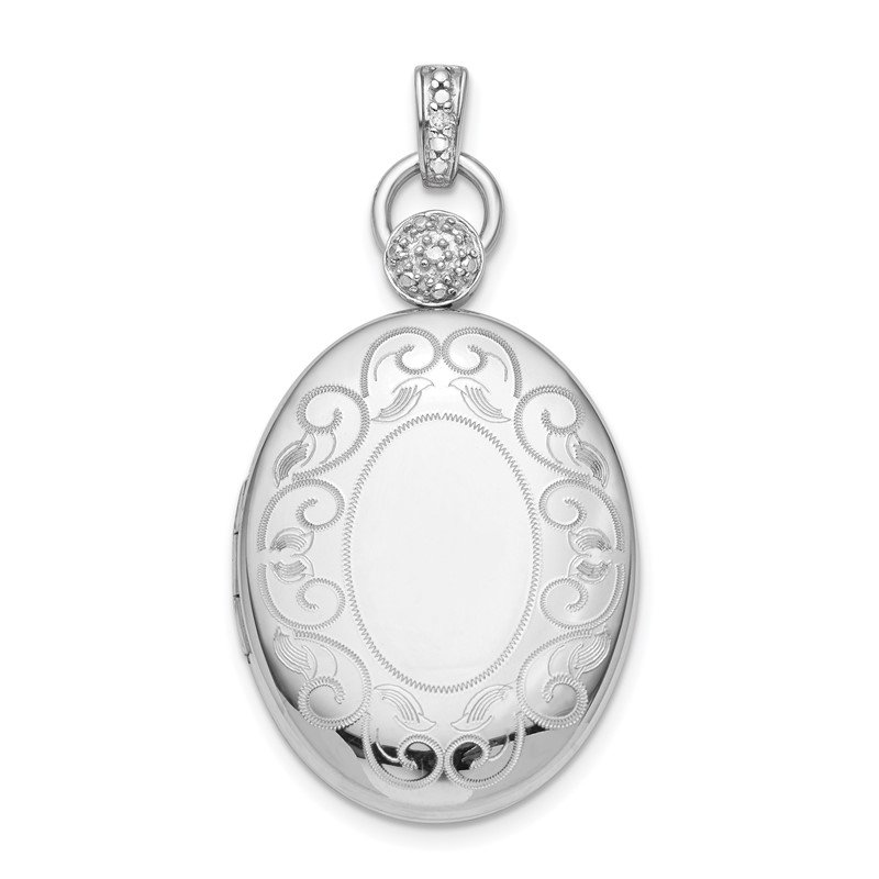 Quality Gold Sterling Silver Rhodium-plate 26mm Oval Diamond Accent Satin Locket