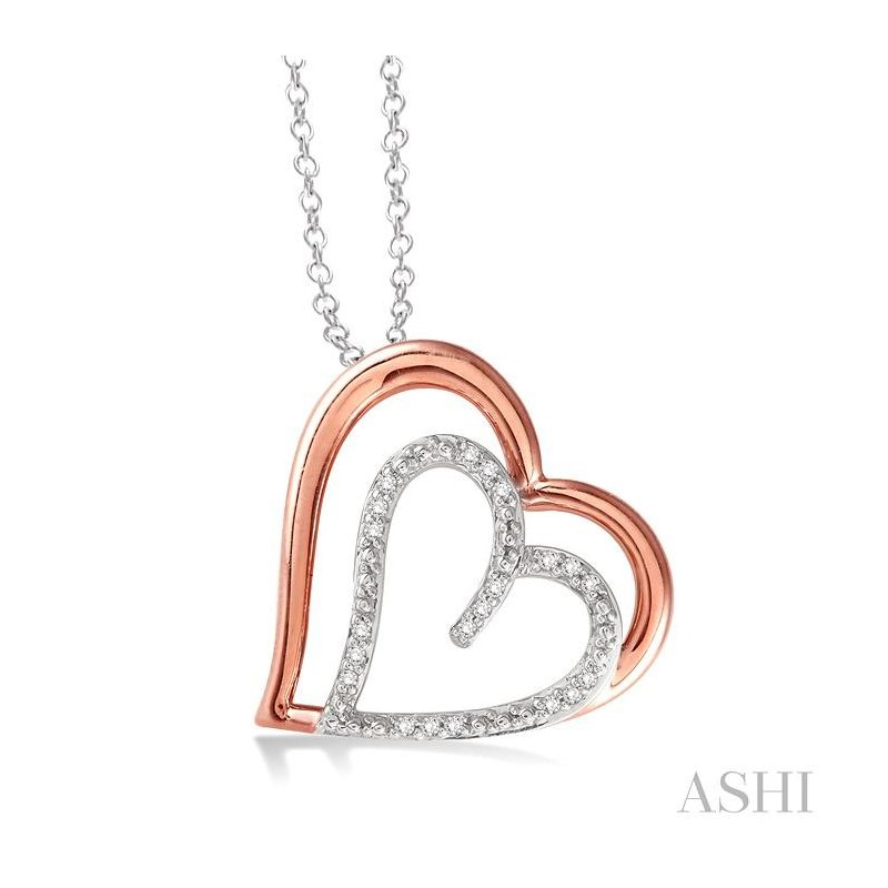 ASHI silver heart shape diamond pendant