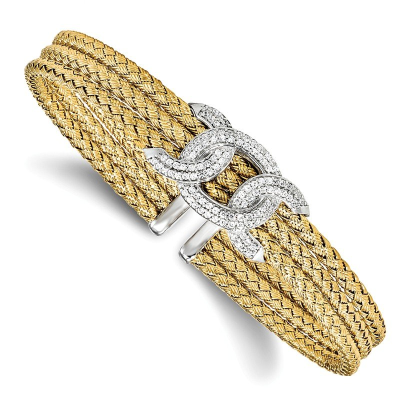 Leslie's Leslie's Sterling Silver Gold-tone CZ Woven Cuff