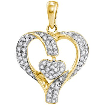 10kt Yellow Gold Womens Round Diamond Heart Love Pendant 1/6 Cttw