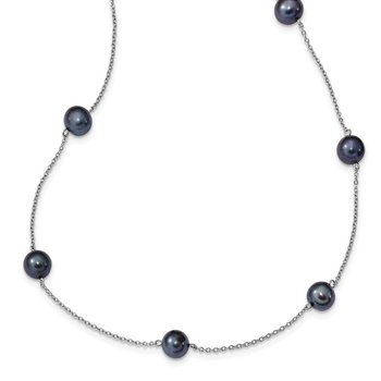 Sterling Silver RH 7-8mm Black FWC Pearl 9 Station Necklace