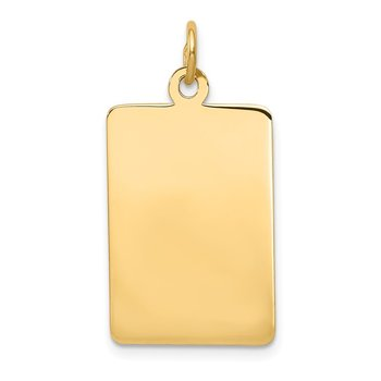 14k Plain .027 Gauge Rectangular Engravable Disc Charm