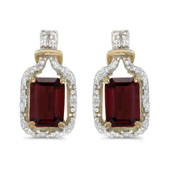 10k Yellow Gold Emerald-cut Garnet And Diamond Earrings