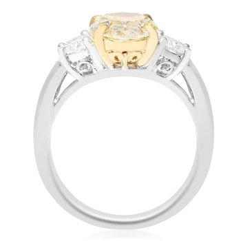 Platinum Two Carat Yellow Diamond Ring