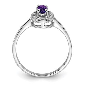 Sterling Silver Rhodium Amethyst & Diamond Ring