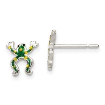Sterling Silver Polished Enamel Frog Post Earrings
