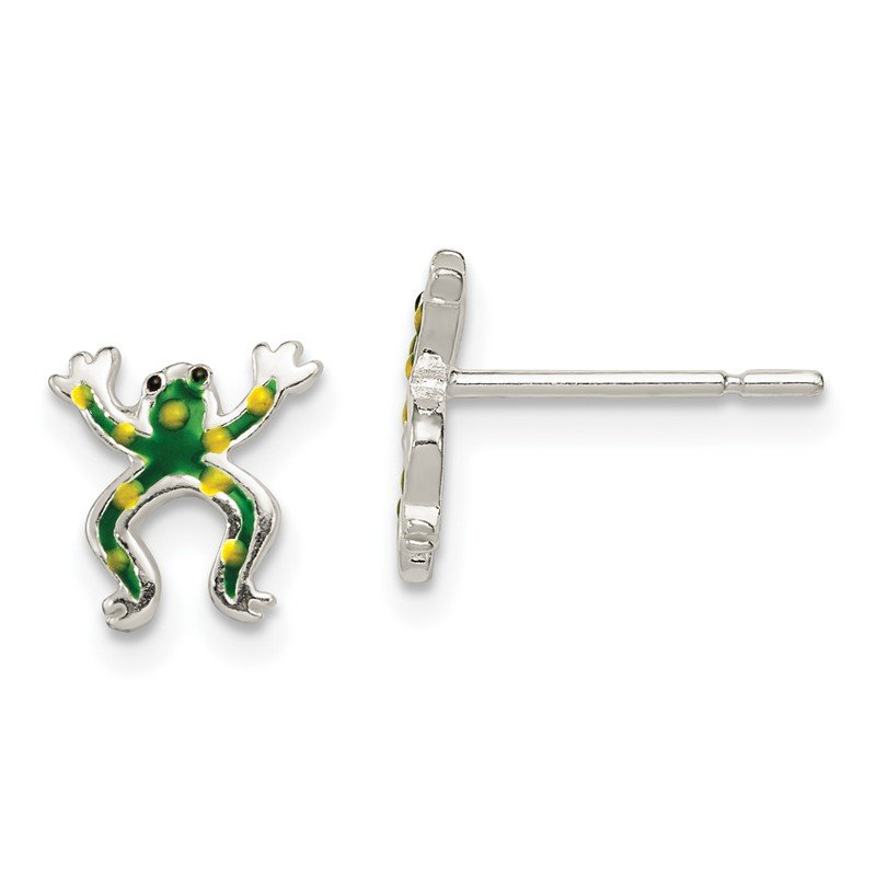 Quality Gold Sterling Silver Polished Enamel Frog Post Earrings