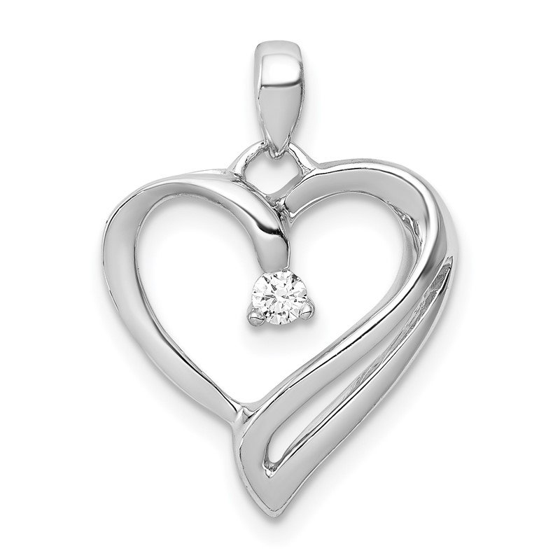 Quality Gold 14k White Gold 1/15ct. Diamond Heart Pendant