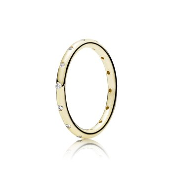 Droplets Stackable Ring, Polished 14K Gold Cz