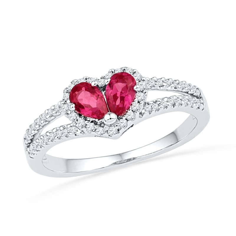 Gold-N-Diamonds, Inc. (Atlanta) 10kt White Gold Womens Pear Lab-Created Ruby Heart Split-shank Ring 3/4 Cttw